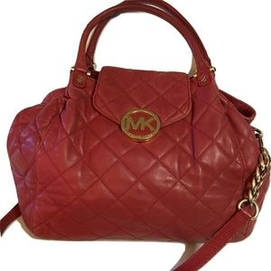 MICHAEL KORS Large Red Soft Quilted Leather FULTON